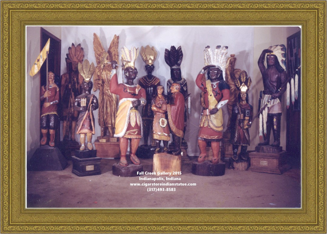 cigar store indian wood statue figures in group